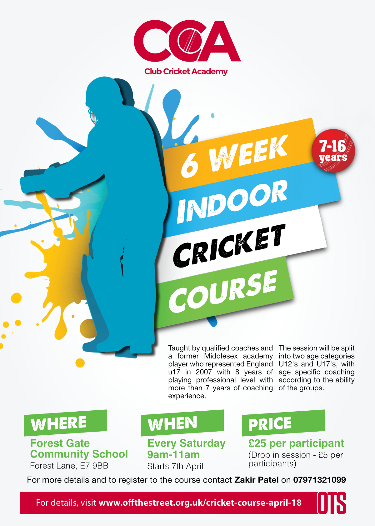 CCA Cricket Course April 2018 - OFF THE STREET